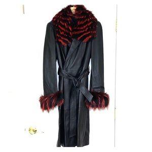 NWOT Escada Leather Coat with Fox Fur Colllar,cuff